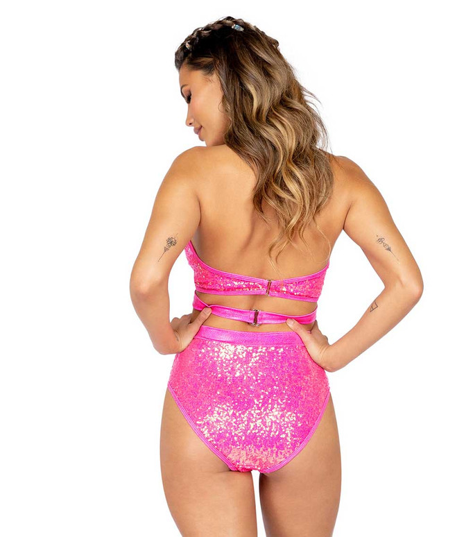 Roma R-3808, CRISS CROSS SEQUIN Hot Pink TOP back view