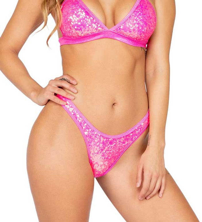 R-3853, SEQUIN HALF BACK Hot Pink BOTTOMS by Roma Costume