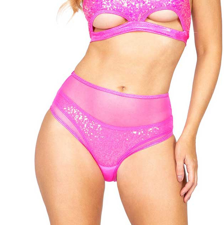 R-3900, Hot Pink MESH HIGH WAISTED SHORTS by Roma Costume