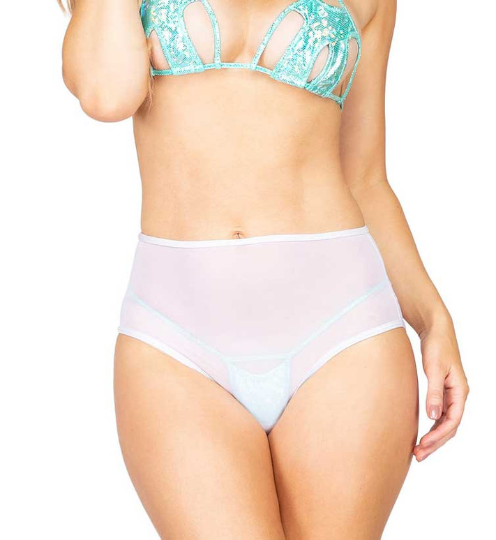 R-3900, MESH HIGH WAISTED White SHORTS by Roma Costume