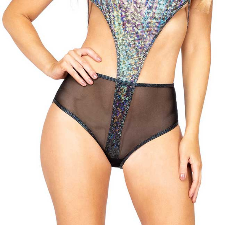 R-3900, MESH HIGH WAISTED Black SHORTS by Roma Costume