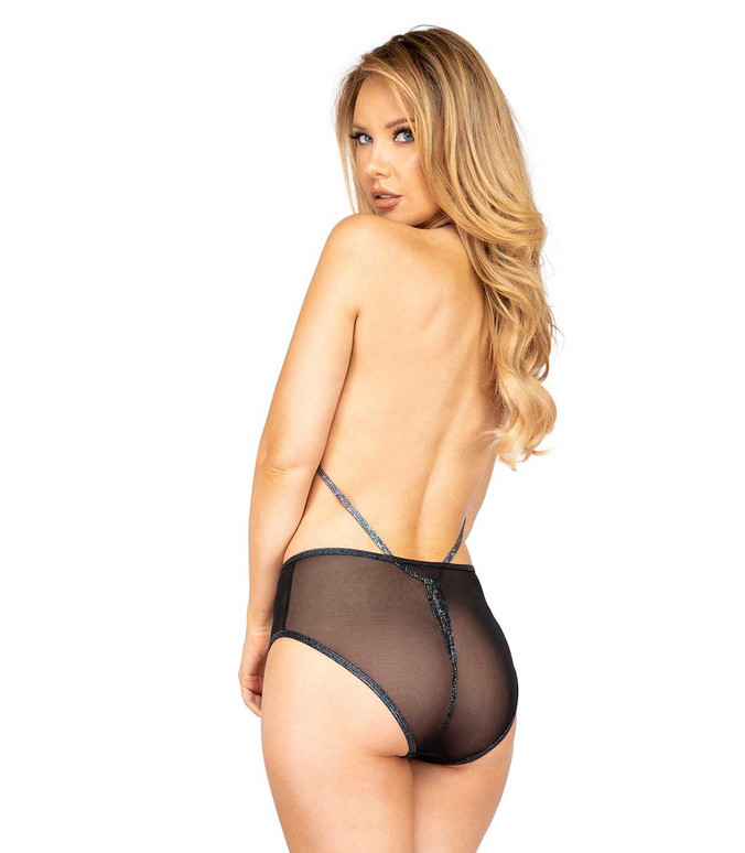 Roma R-3900, MESH HIGH WAISTED SHORTS back view