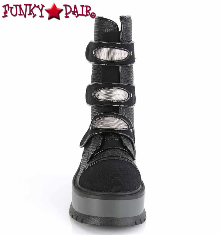 Slacker-101, Front View Mid-Calf Boots with Stud Details by Demonia