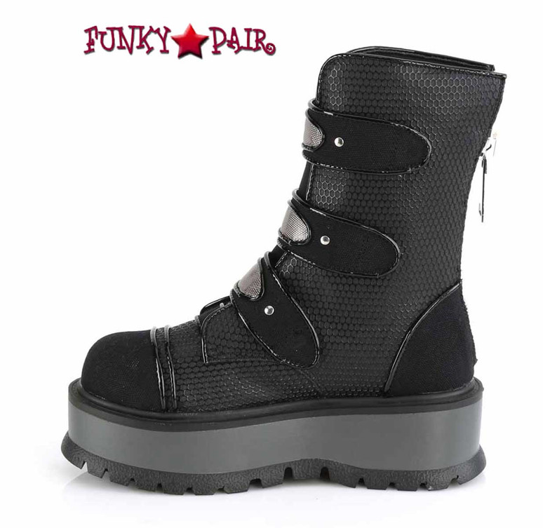Slacker-101,  Inner Side View Mid-Calf Boots with Stud Details by Demonia