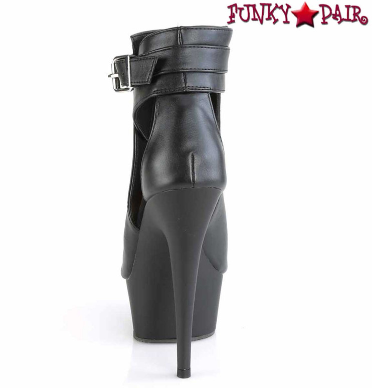 Delight-600-10, Back View Peep Toe, Side Cut out Ankle Boots by Pleaser