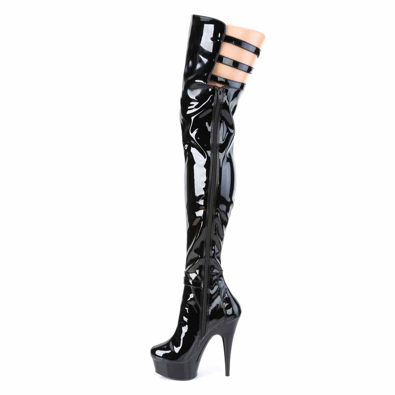 Delight-3055, Triple Buckles Strap Thigh High Boots Zipper Side View by Pleaser