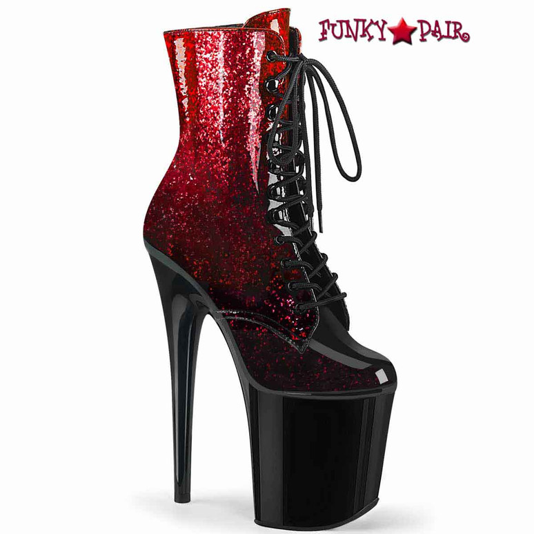 Flamingo-1020OMB, Ankle Boots with Red Ombre Effect by Pleaser