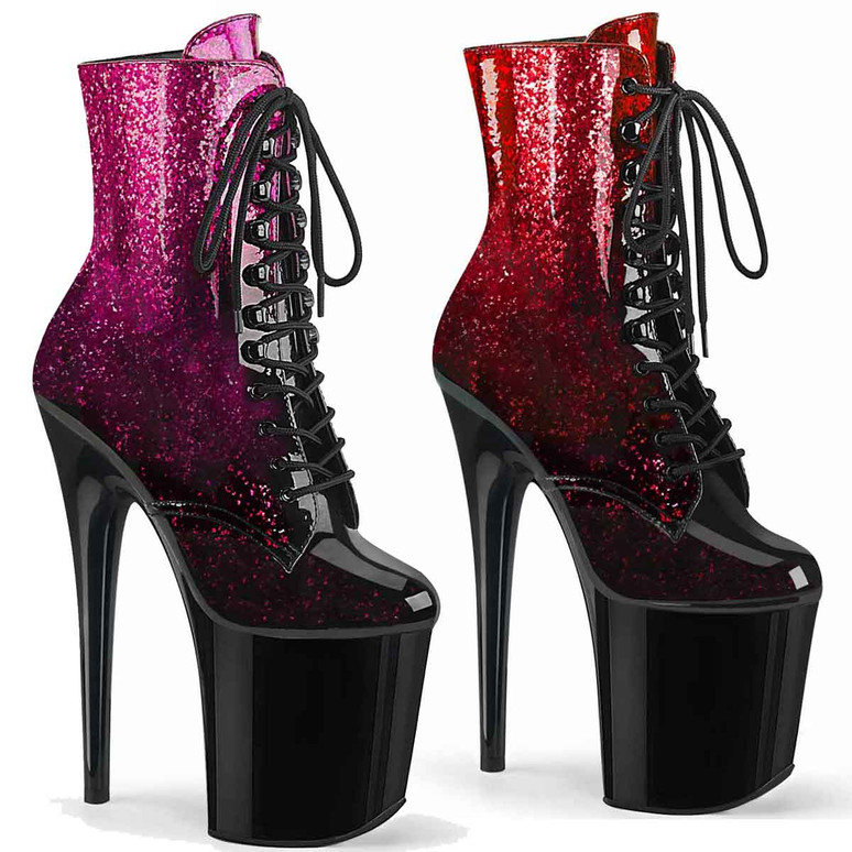 Flamingo-1020OMB, Ankle Boots with Ombre Effect by Pleaser