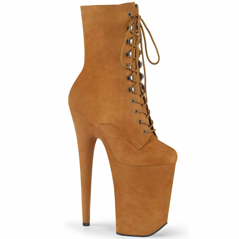 Infinity-1020FS, Tan 9 Inch Lace-up Suede Ankle Boots by Pleaser