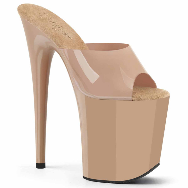 Flamingo-801N, 8 Inch Nude Exotic Dancer Shoes by Pleaser