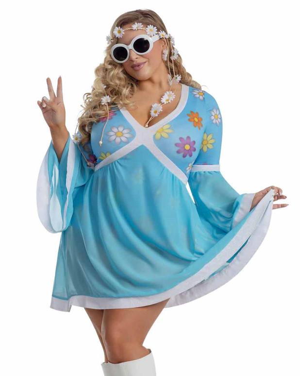 S2056X, Plus Size Flower Hippie Costume by Starline