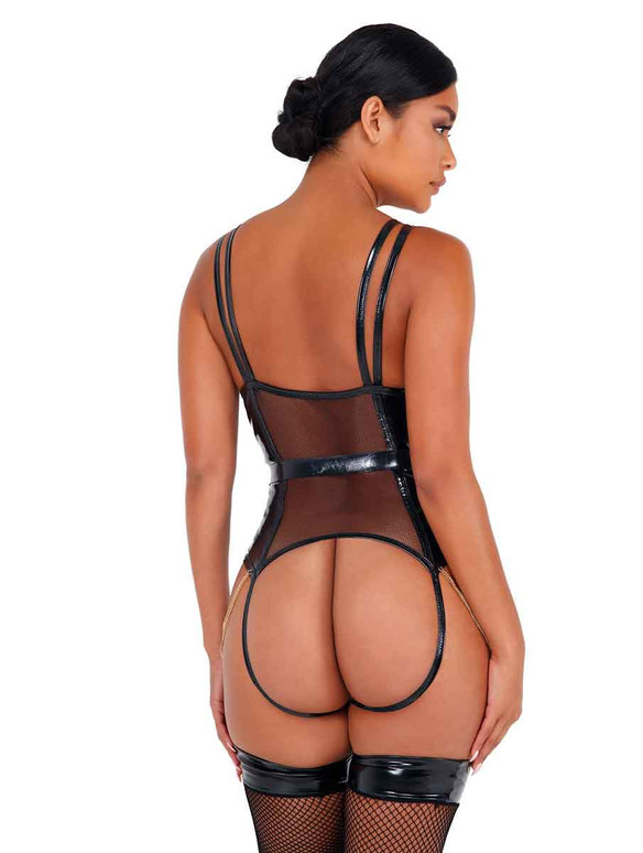 LI436, Vinyl Bodysuit with Chain Detail back view by Roma