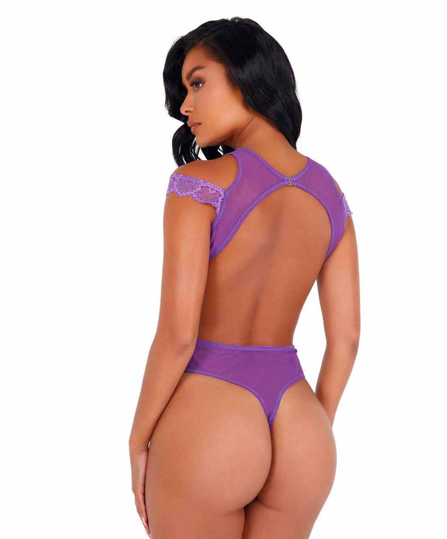 LI420, Lavender Lace and Mesh Cutout Teddy back view by Roma