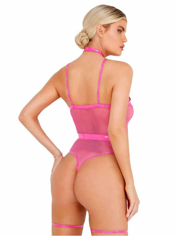 Roma LI435, Hot Pink Vinyl Strappy Bodysuit back view