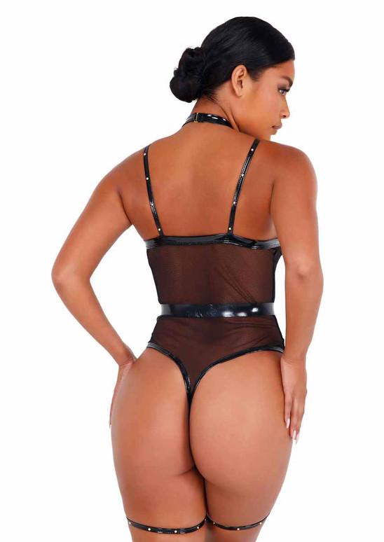 Roma LI435, Black Vinyl Strappy Bodysuit back view