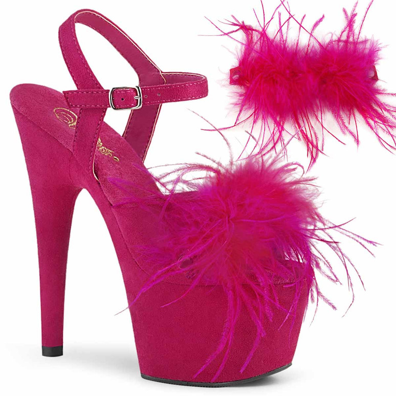 """7"""" Removable Hot Pink Marabou Feather on Vamp Ankle Strap Sandal Adore-709F, by Pleaser"""