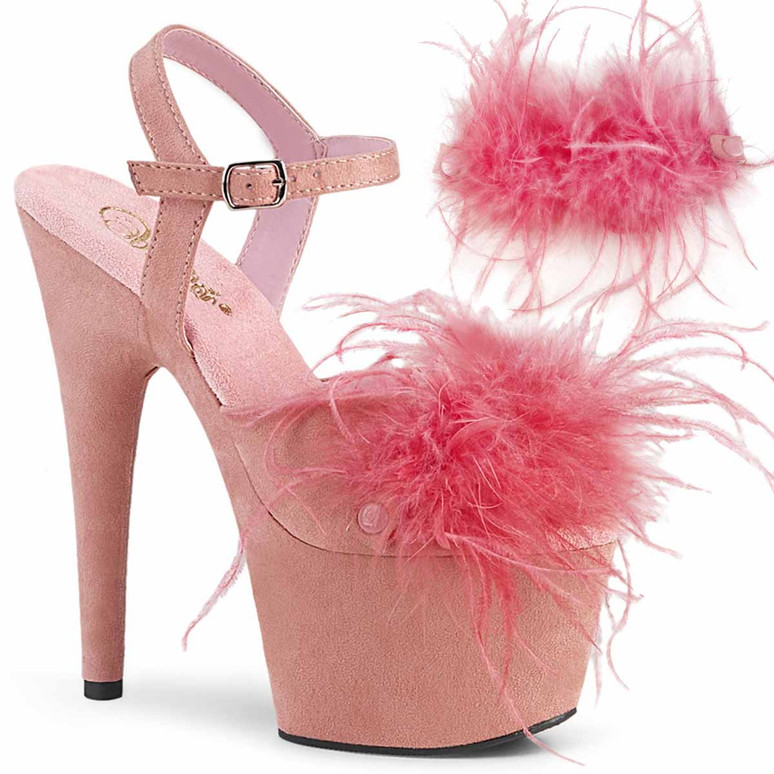 """7"""" Removable Baby Pink Marabou Feather on Vamp Ankle Strap Sandal Adore-709F, by Pleaser"""