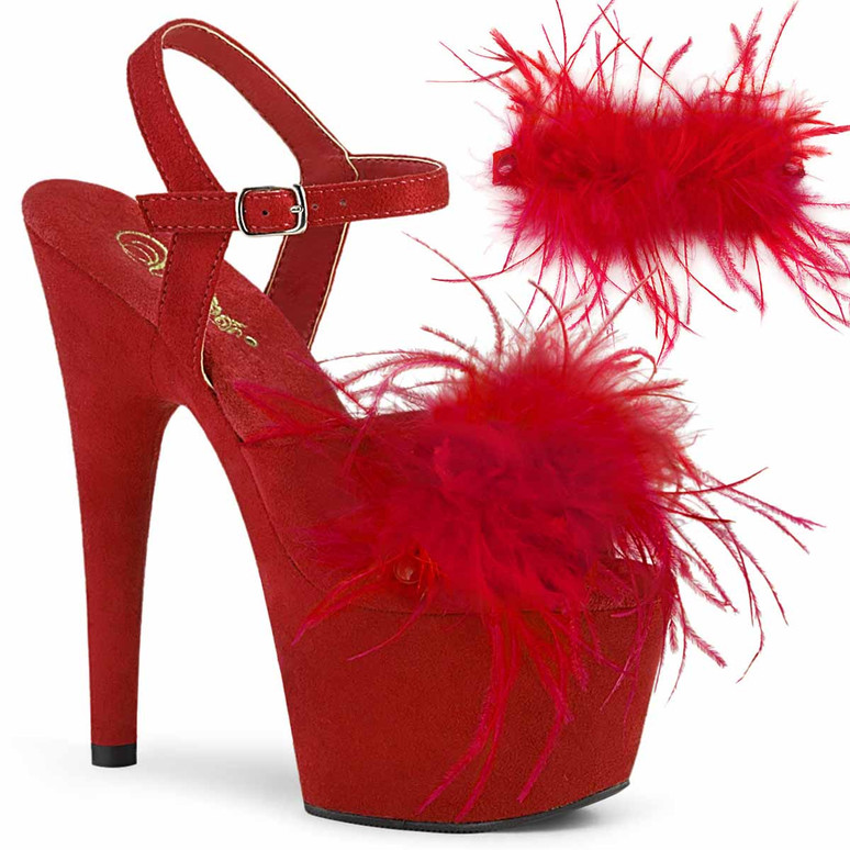 """7"""" Removable Red Marabou Feather on Vamp Ankle Strap Sandal Adore-709F, by Pleaser"""