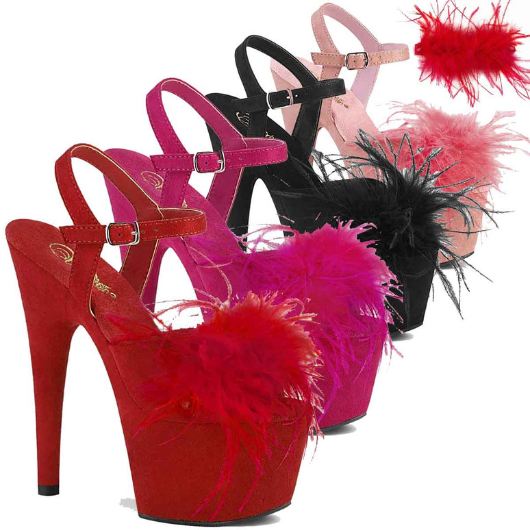 """Adore-709F, 7"""" Removable Marabou Feather on Vamp Ankle Strap Sandal by Pleaser USA"""