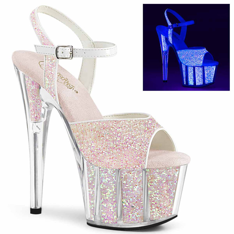 "Adore-710UVG, 7"" Ankle Strap With UV Glitter Platform Sandal by Pleaser"