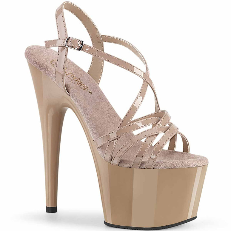 """Adore-713, 7"""" Ankle Strap with Overlapping Straps by Pleaser"""