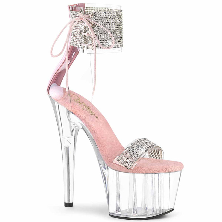"""7"""" Baby Pink Rhinestones Ankle Cuff and Front Strap Platform Sandal Adore-727RS, by Pleaser"""