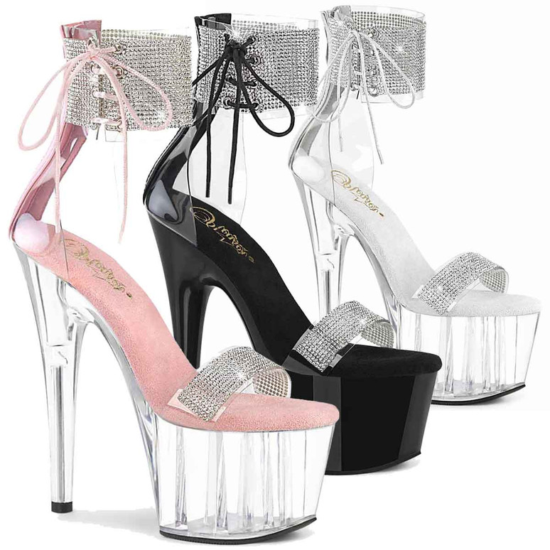 """Adore-727RS, 7"""" Rhinestones Ankle Cuff and Front Strap Platform Sandal by Pleaser Shoes"""