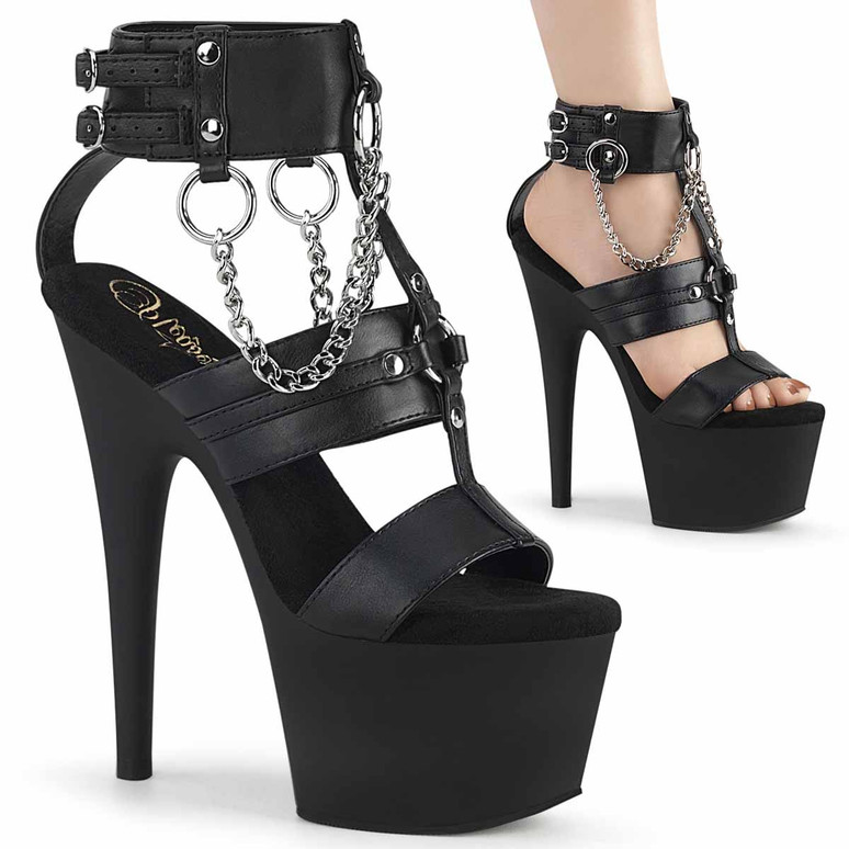 """Adore-761, 7"""" Strappy T-Strap with Metal Rings And Chain Platform Sandal by Pleaser"""