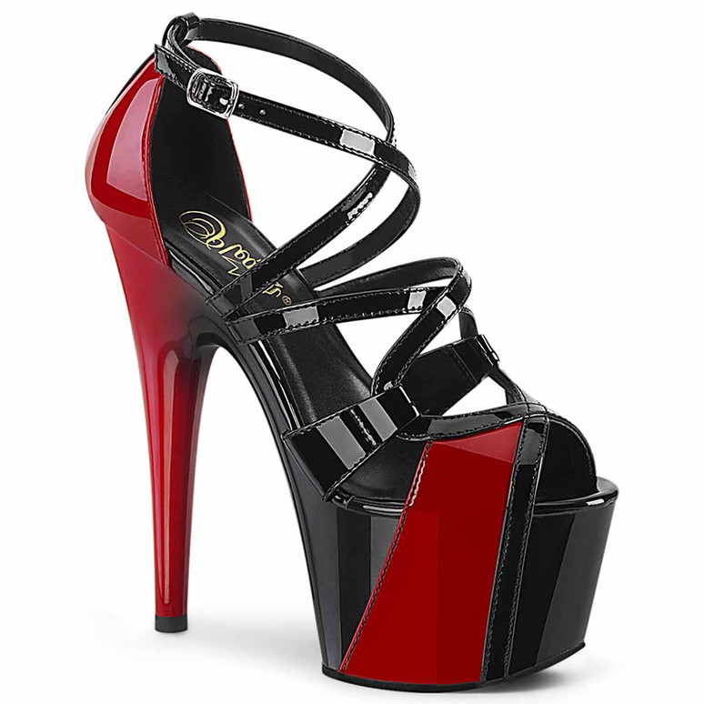 """Adore-764,  7"""" Two Tone Peep Toe Strappy Sandal by Pleaser"""