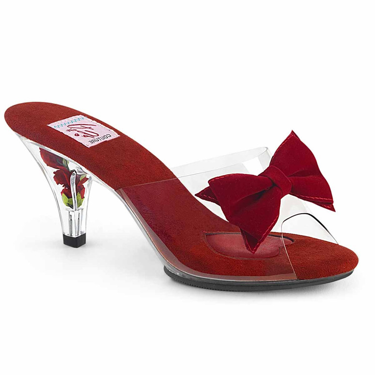 """3"""" Red Slide with Bow Belle-301BOW, by Pin Up Couture"""