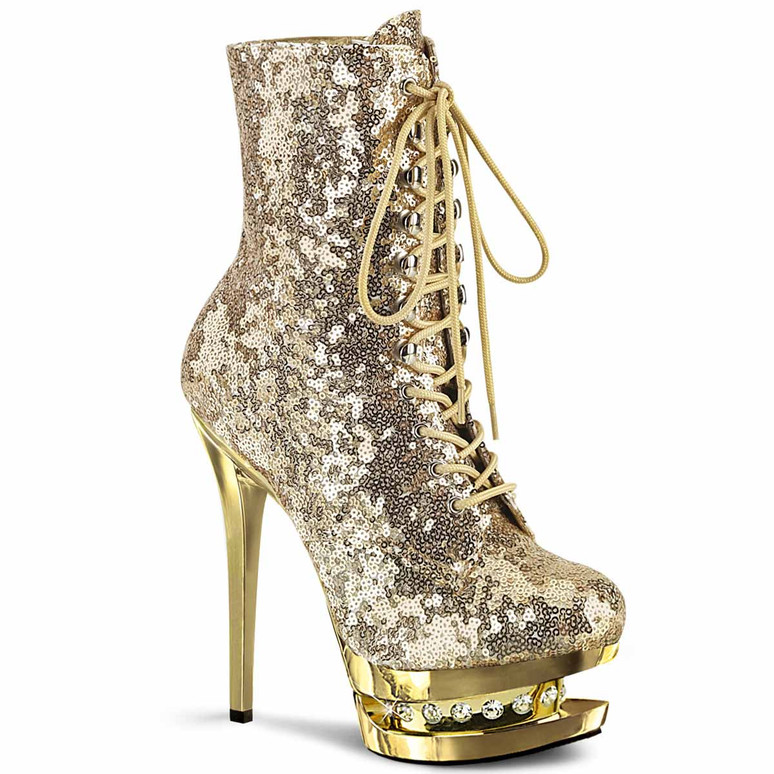 """Blondie-R-1020SQ, 6"""" Gold Sequins Lace-up Ankle Boots with Rhinestones in Mid Platform by Pleaser"""
