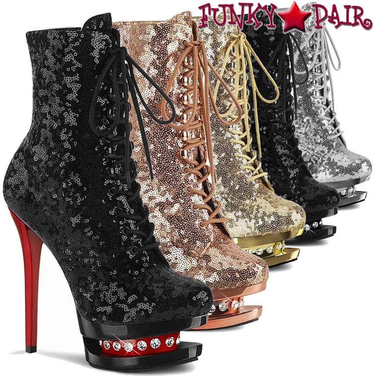 """Pleaser   Blondie-R-1020SQ, 6"""" Sequins Lace-up Ankle Boots with Rhinestones in Mid Platform"""