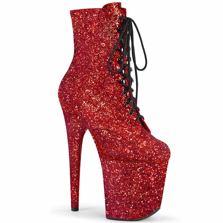 """8"""" Red Glitter Lace-up Ankle Boots Flamingo-1020GWR, by Pleaser"""
