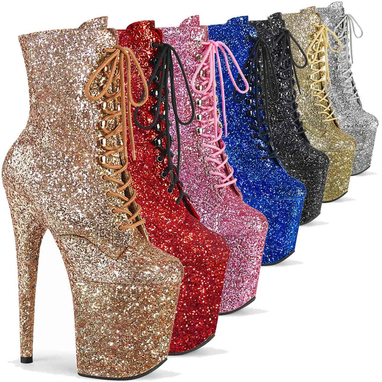 """Flamingo-1020GWR, 8"""" Glitter Lace-up Ankle Boots by Pleaser USA"""