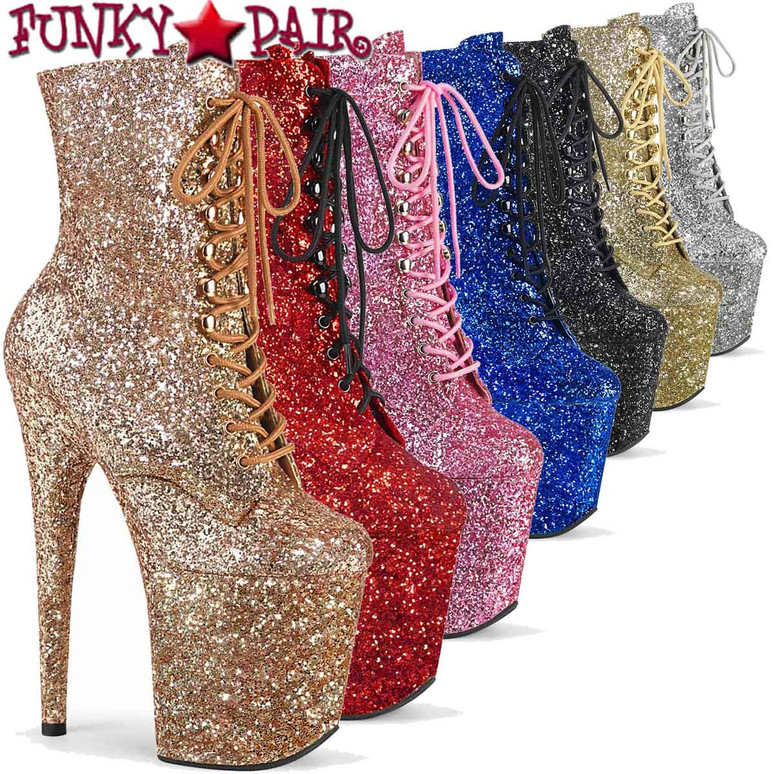 """Pleaser   Flamingo-1020GWR, 8"""" Glitter Lace-up Ankle Boots"""
