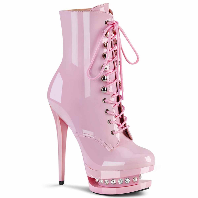 """Blondie-R-1020, 6"""" Baby Pink Lace-up Ankle Boots with Rhinestones in Mid Platform by Pleaser"""