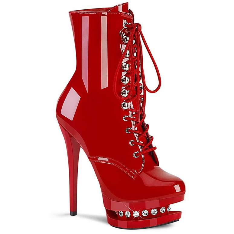 """Blondie-R-1020, 6"""" Red Lace-up Stripper Ankle Boots with Rhinestones in Mid Platform by Pleaser"""