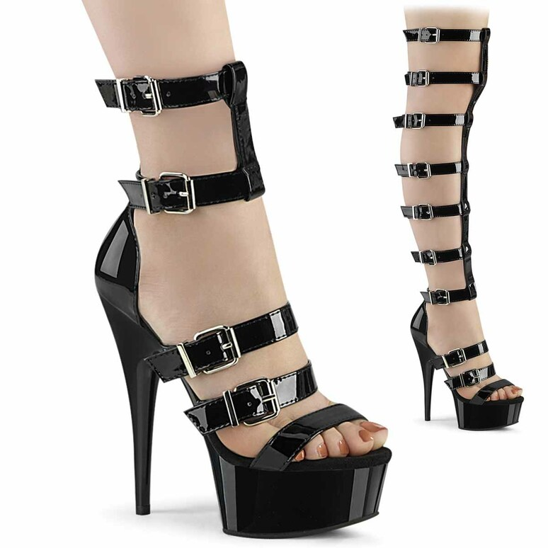 "Delight-600-46, 6"" Gladiator Style Sandal with Multiple Buckles by Pleaser"