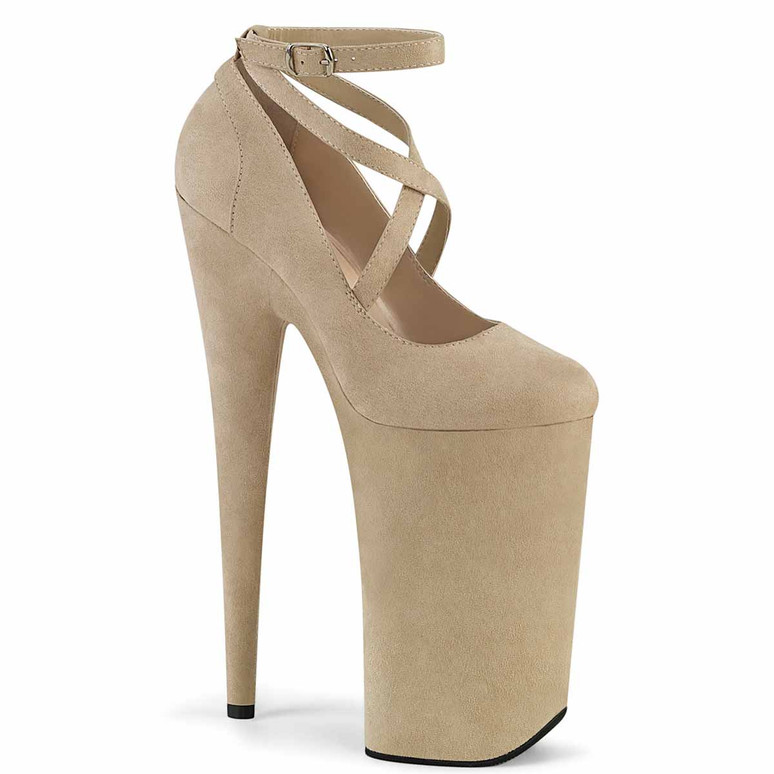 """Beyond-087FS, 10"""" Beige Extreme High Heel Platform Mary Jane Shoes by Pleaser"""