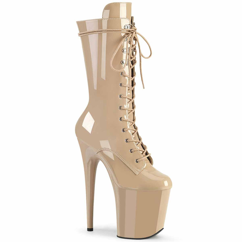 "Flamingo-1050, 8"" Nude Lace-up Mid Calf Boots by Pleaser"