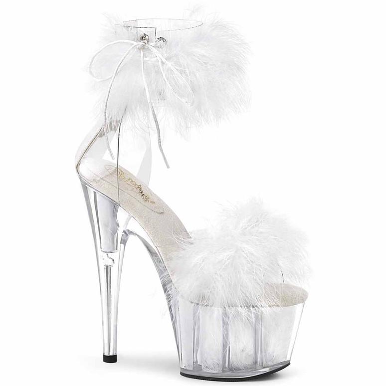 "Adore-724F, 7"" White Marabou Fur Ankle Cuff Platform Sandal by Pleaser"