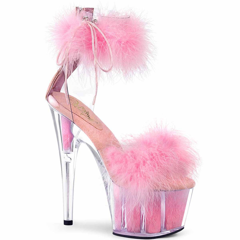 """Adore-724F, 7"""" Baby Pink Marabou Fur Ankle Cuff Platform Sandal by Pleaser"""