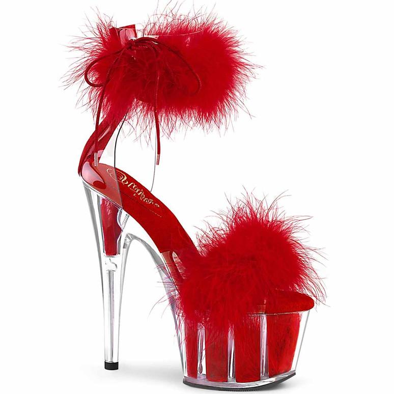 "Adore-724F, 7"" Red Marabou Fur Exotic Dancer Ankle Cuff Platform Sandal by Pleaser"