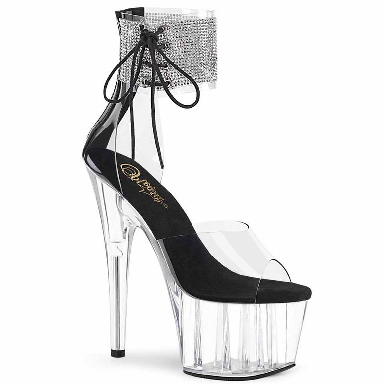 "Adore-724RS, 7"" Rhinestones Stripper Ankle Cuff Platform Sandal Clear/Black/Clear by Pleaser"