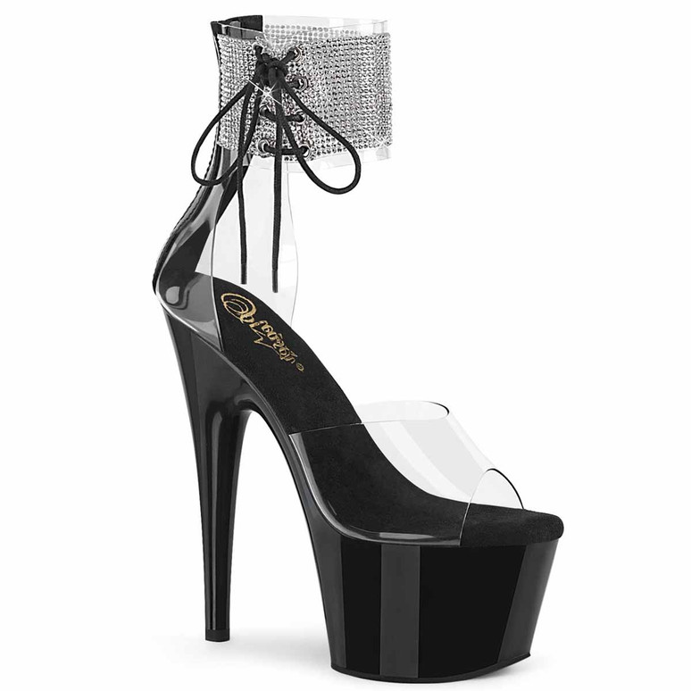 """Adore-724RS, 7"""" Clear/Black Rhinestones Ankle Cuff Platform Sandal by Pleaser"""