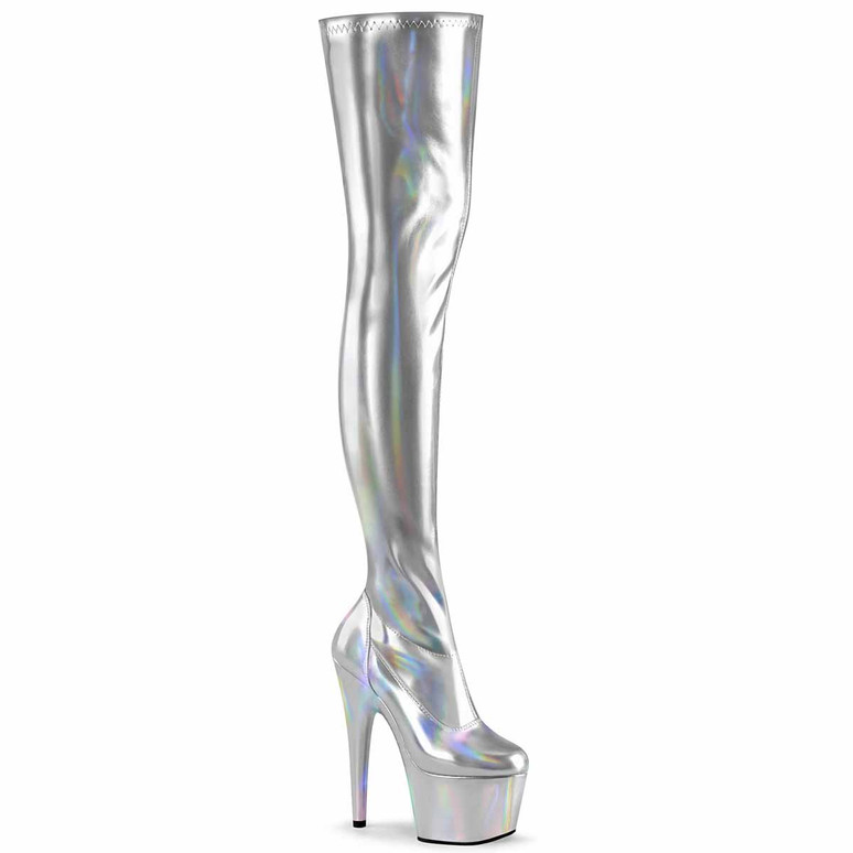 """Adore-3000HWR, 7"""" Silver Thigh High Hologram Boots by Pleaser"""
