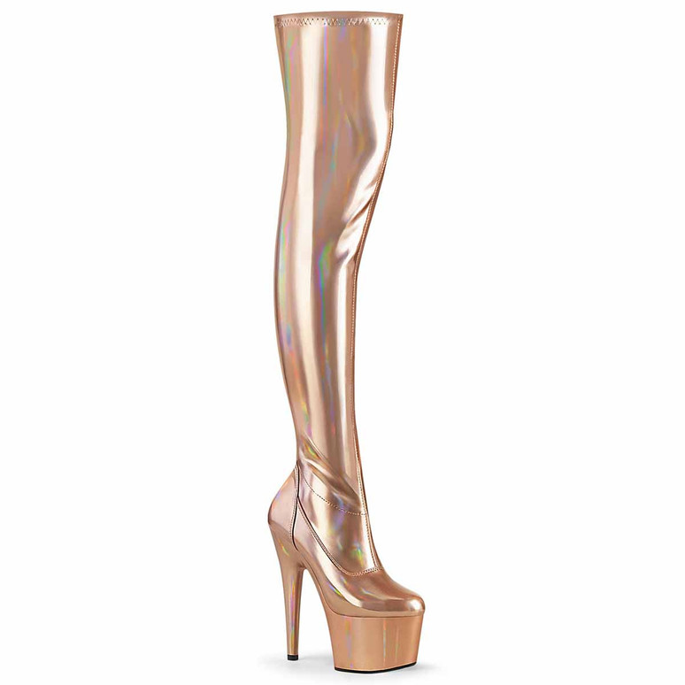 """Adore-3000HWR, 7"""" Rose Gold Stripper Thigh High Hologram Boots by Pleaser"""