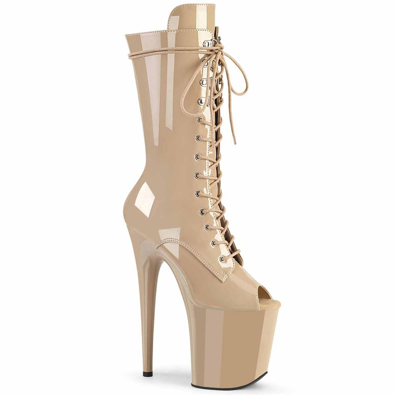 "Flamingo-1051, 8"" Nude Peep Toe Mid Calf Lace-up Boots by Pleaser"