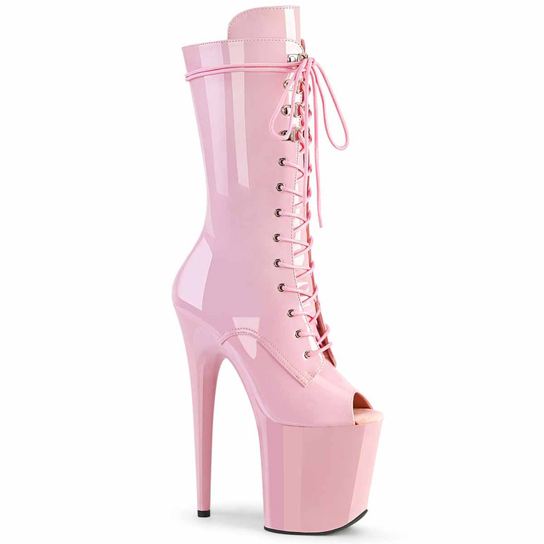 """Flamingo-1051, 8"""" Baby Pink Peep Toe Mid Calf Lace-up Boots by Pleaser"""