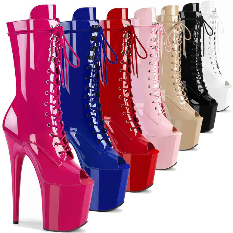 """Flamingo-1051, 8"""" Peep Toe Mid Calf Lace-up Boots by Pleaser USA"""